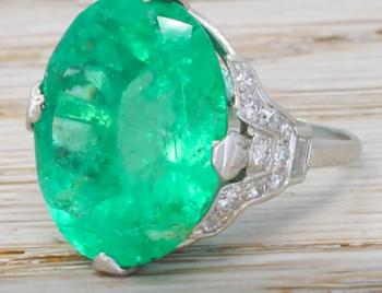 17.83 Carat Minor Oil  Emerald Ring