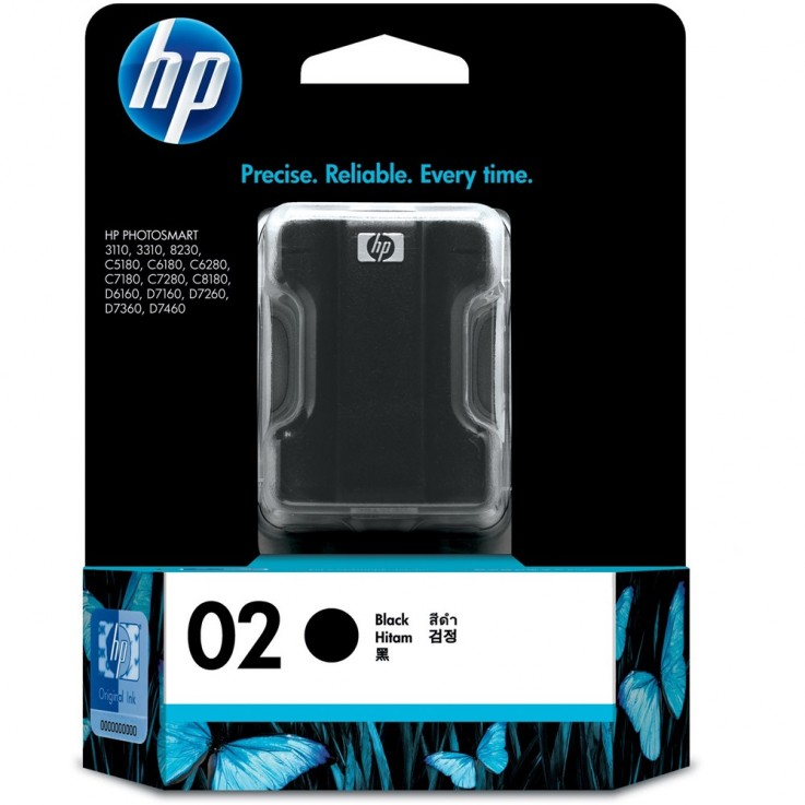 HP #02 INKJET CARTRIDGE C8721WA, Black-D