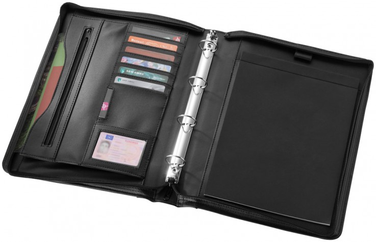 A4 Zippered Portfolio Black