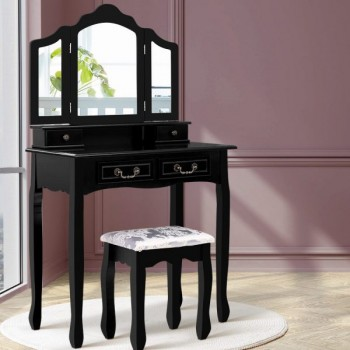 Artiss Dressing Table with Mirror – Blac