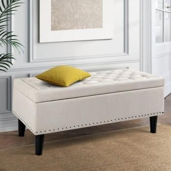 Artiss Fabric Storage Ottoman – Taupe