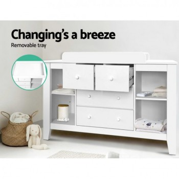 Change Table with Drawers – White