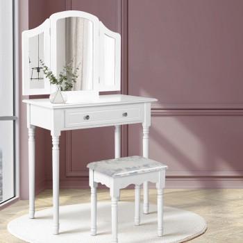 Artiss Dressing Table Stool Mirror Drawe