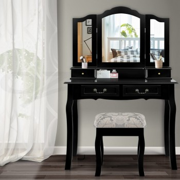 Artiss Dressing Table with Mirror - Blac