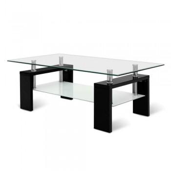 Artiss 2 Tier Glass Coffee Table - Black