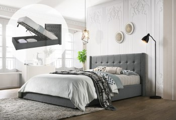 King Sized Winged Fabric Bed Frame with