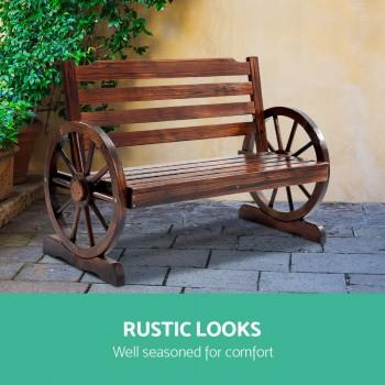 Gardeon Wooden Wagon Wheel Bench – Brown