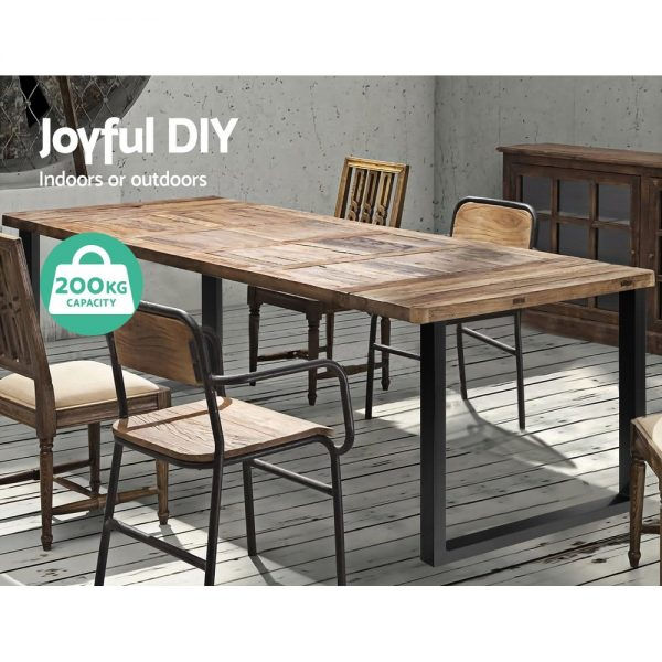 2x Coffee Dining Steel Table