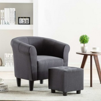 2 Piece Armchair And Stool Set Black Fab