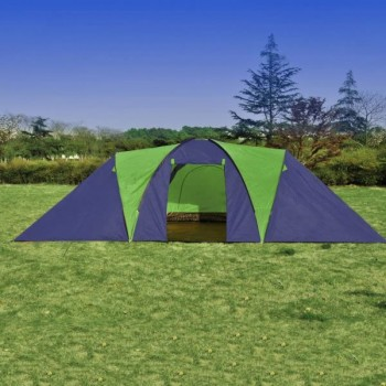 Camping Tent Fabric 9 Persons Blue and G