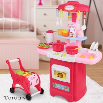 Keezi Kids Kitchen And Trolley Playset –
