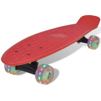 Red Retro Skateboard With LED Wheels