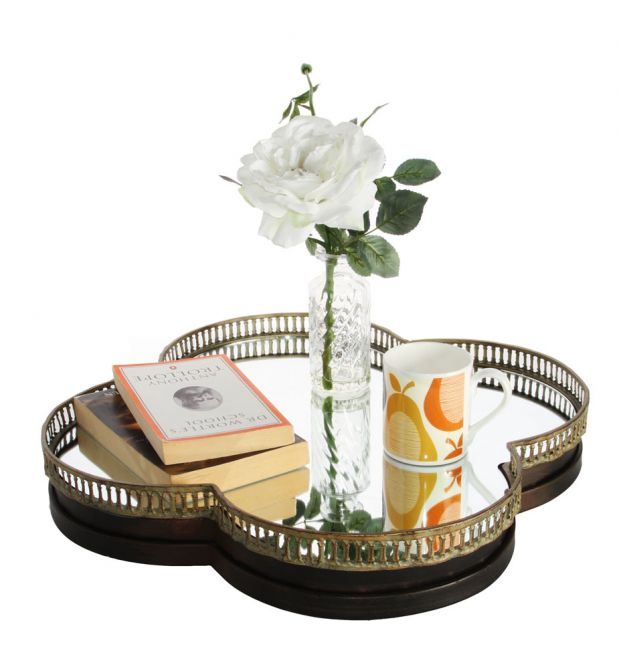 Clover Wall Mirror and Serving Tray