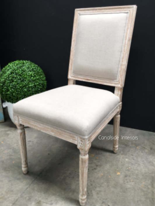 Tyrion Dining Chair - Whitewash with cre