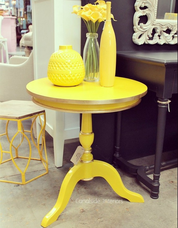 Candy Crushed Side Table - Yellow