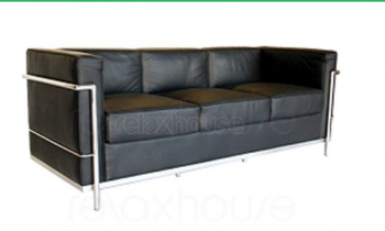 DECO PETIT 3 SEATER LOUNGE - BLACK LEATH
