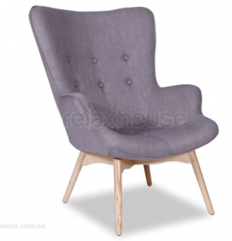 BASALT CONTOUR LOUNGE CHAIR - GREY LINEN