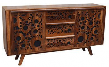 CARVED HARDWOOD DESIGNER SIDEBOARD