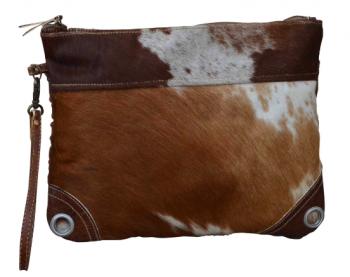 DARK COWHIDE ZIP CLUTCH BAG