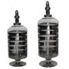 SET/2 STRIPED GLASS CANISTERS