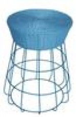 CIRCULAR RATTAN AND WIRE STOOL BLUE