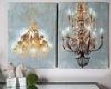 SET OF 2 LED LIGHT UP CHANDALIER WALL