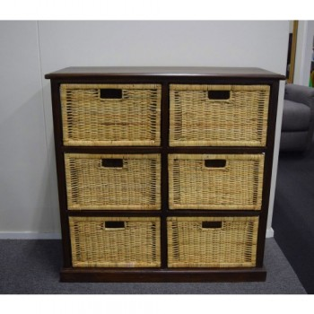 6 Drawer Rattan Storage Basket Chest - M