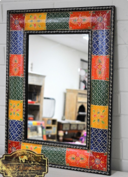 Painted Patchwork Bright Boho Mirror