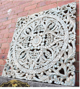 Hand Carved Antique Timber Floral Wall