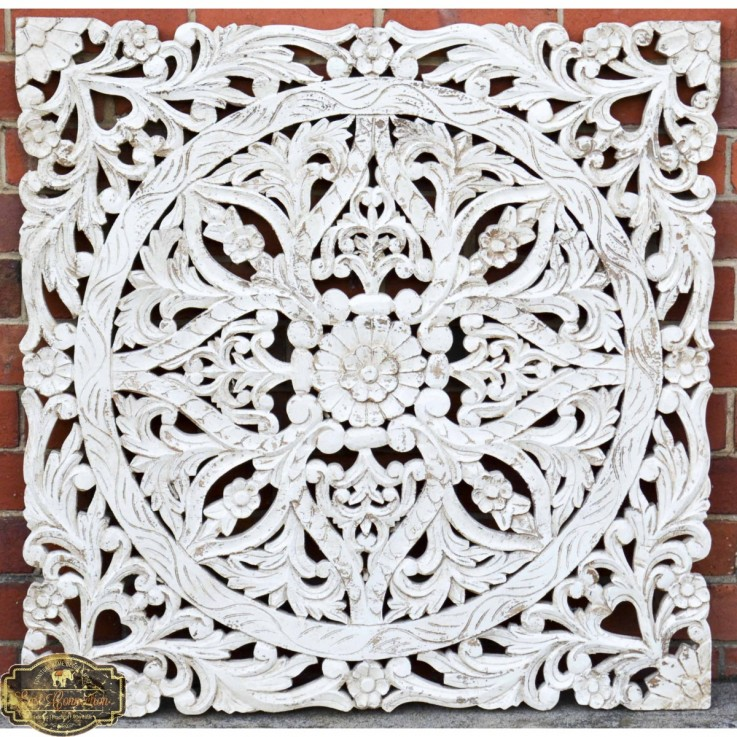 Hand Carved Antique Timber Panel Floral