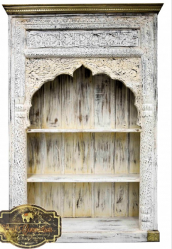 Antique White Mehrab Carved Indian