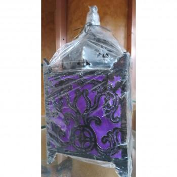 Metal Lamp 36cm purple square