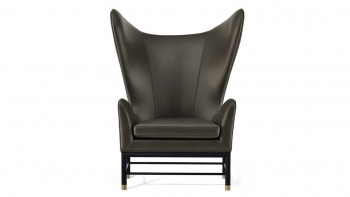 HUSK WING BACK LEATHER ARMCHAIR