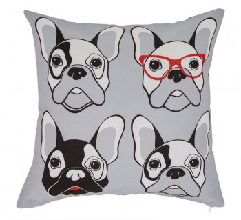 Frenchie Check Cushion