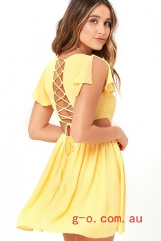 2016 Yellow La Brea Yellow Backless Lace