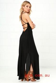 2016 Black RVCA Kambria Black Maxi Dress