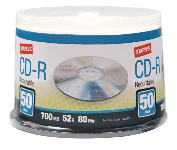 Staples CD-R 700 MB / 52x / 80 Min - 50