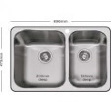 Abey 1 & 3/4 Q180 Double Bowl Inset Sink