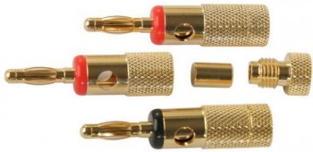 BANANA PLUG GOLD PLATED 4mm BLACK