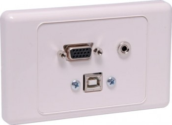 VGA 3.5mm USB Type B Wallplate - with Fl
