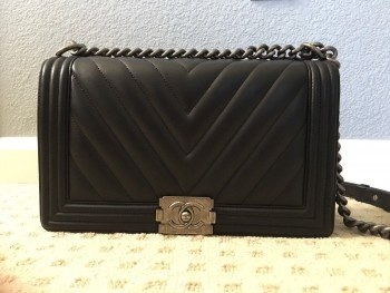 Authentic Chanel Black Lambskin Chevron