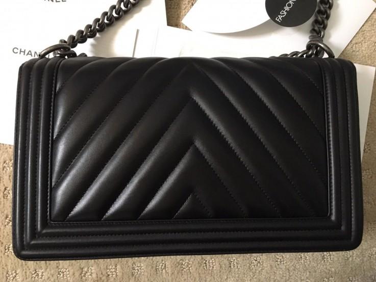 Authentic Chanel Black Lambskin Chevron
