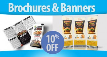 Get 10% Off Brochures and Banners Printing
