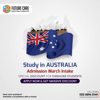 Study In Australia Special Discount for ONSHORE Students, Apply Now For Massive Discounts