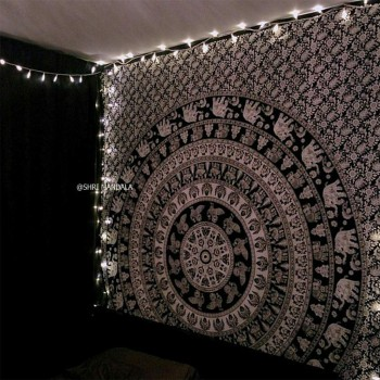 Black and White Elephant Mandala Throw