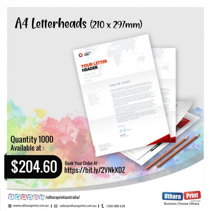 Uthara Print Australia - A4 Letterheads (210x297mm)