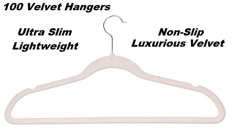 100 Beige Space Saving Velvet Coat Hangers  Z2390