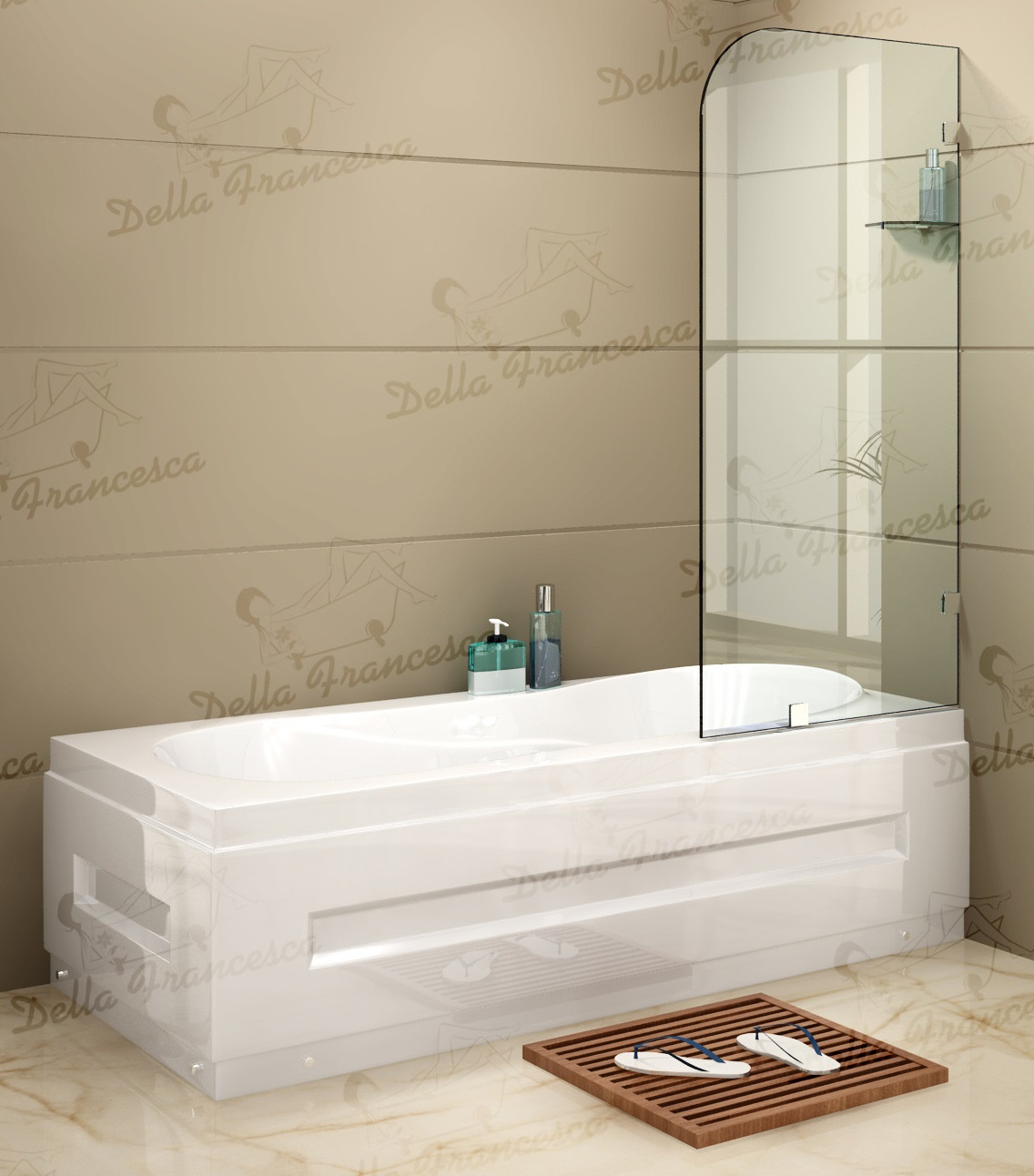 700 x 1450mm Frameless Bath Panel 10mm Glass Shower Screen By Della Francesca  Z2446
