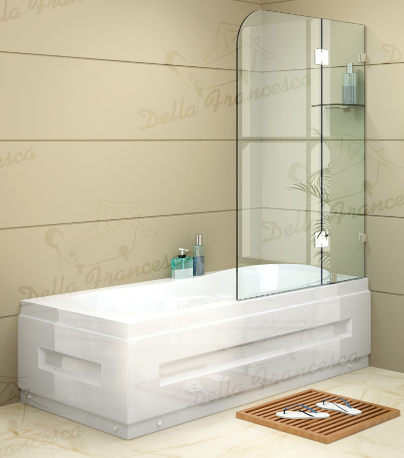 1200 x 1450mm Frameless Bath Panel 10mm Glass Shower Screen By Della Francesca  Z2448