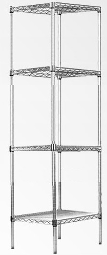 Modular Chrome Wire Storage Shelf 450 x 450 x 1800 Steel Shelving  Z2488